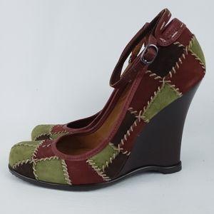 Vince Camuto Suede Patchwork Wood Wedges